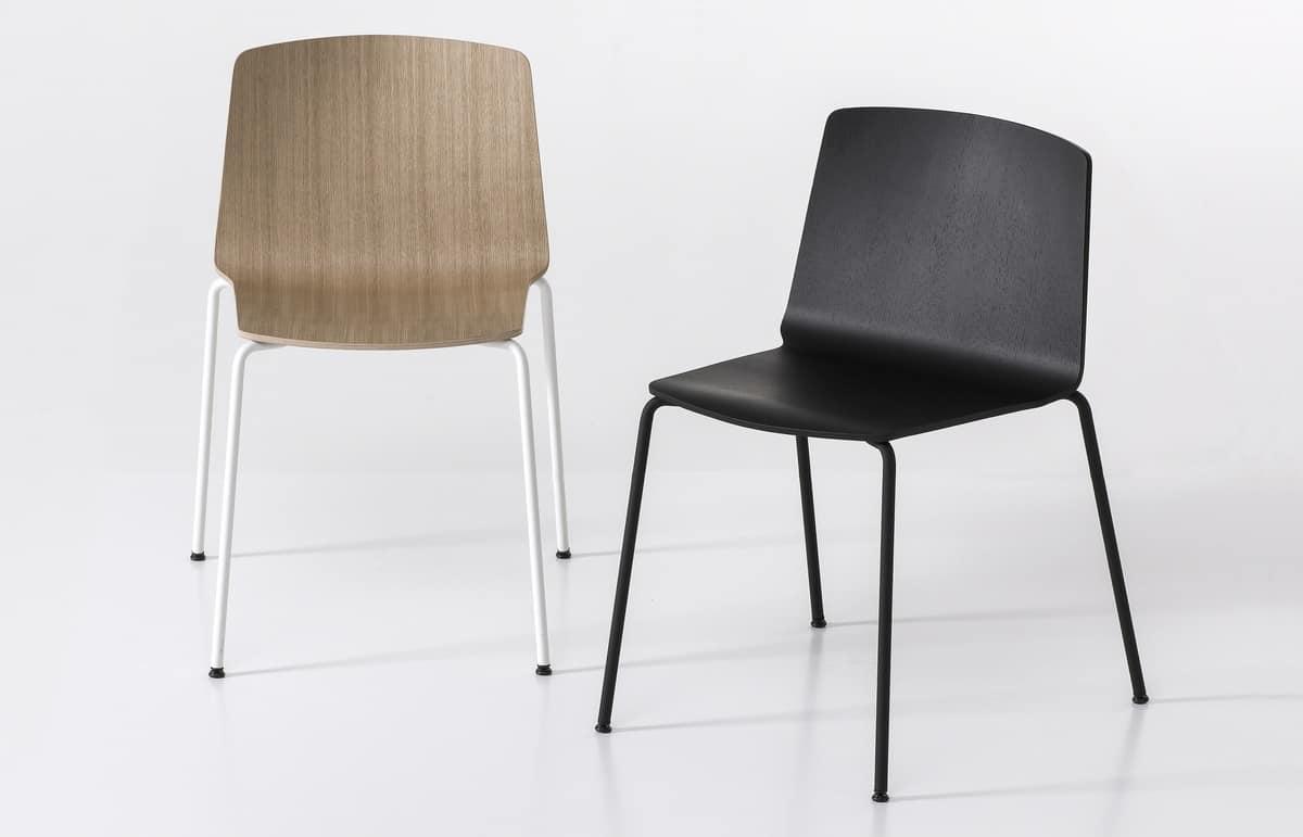 Rama Four Legs wood, Design chair in steel and plywood, sturdy and durable