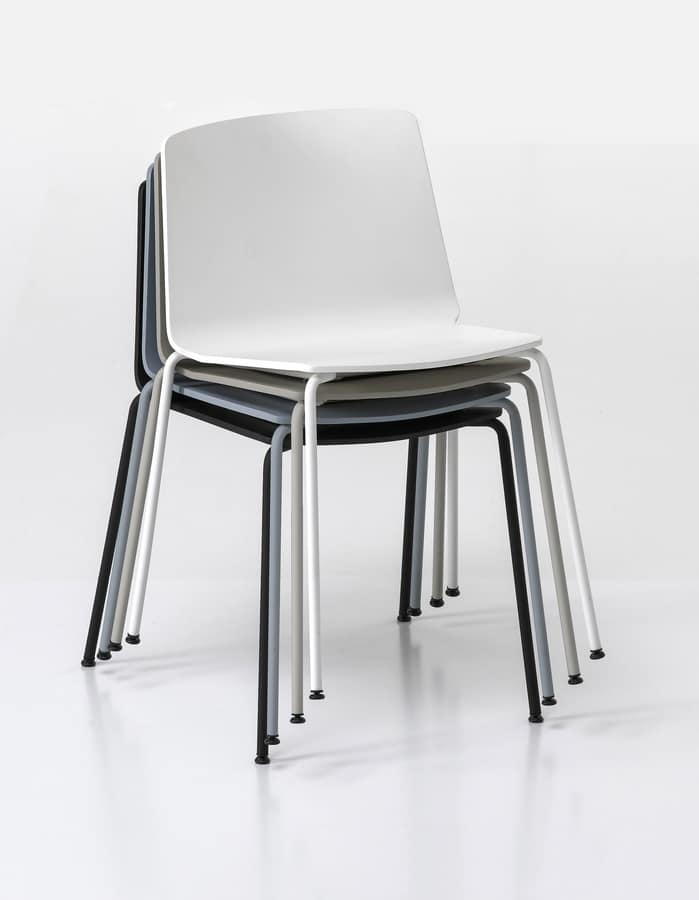 Rama Four Legs polypropylene, Chair in painted steel rod, stackable and robust