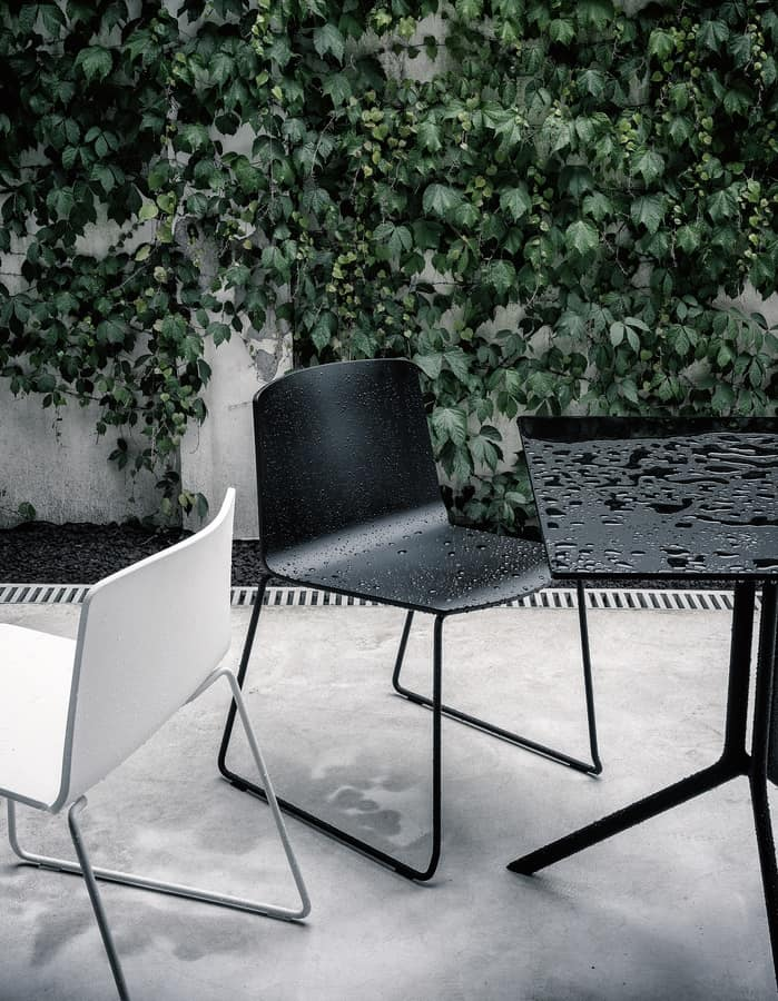 Rama Slide Base Outdoor, Chair with sled, in polypropylene, for outdoor and public places