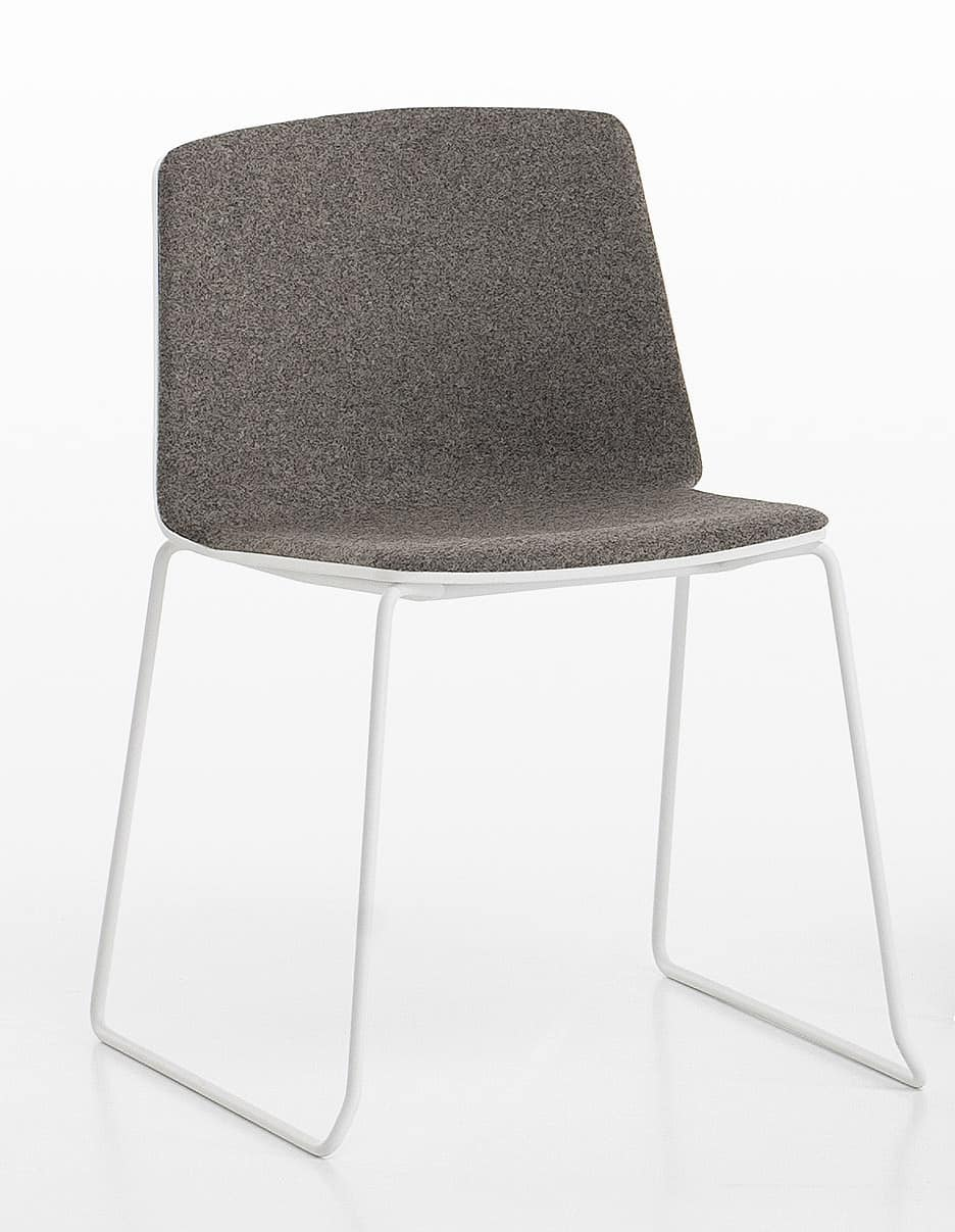 Rama Slide Base padded, Dockable padded chair for conference rooms