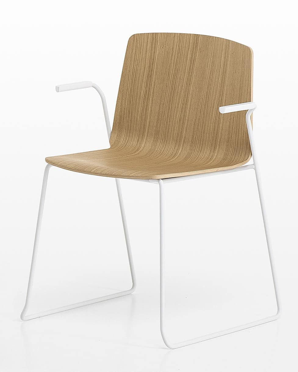 Rama Slide Base wood with armrests, Sled chair with arms and plywood shell