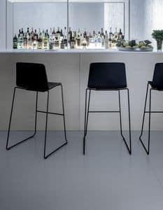Rama Stool polypropylene, Stool in steel and polypropylene, for waiting rooms