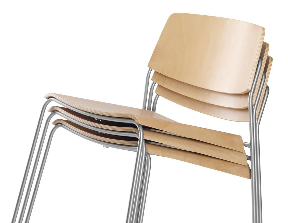 SIGMA 165, Stackable chair in laminated beech, sled metal base
