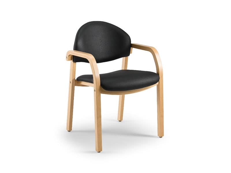 Soleil 68171, Padded chair in wood for waiting rooms, fireproof