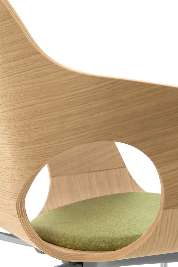 Spark Wood 01, Chair with steel base and wooden shell, for conference