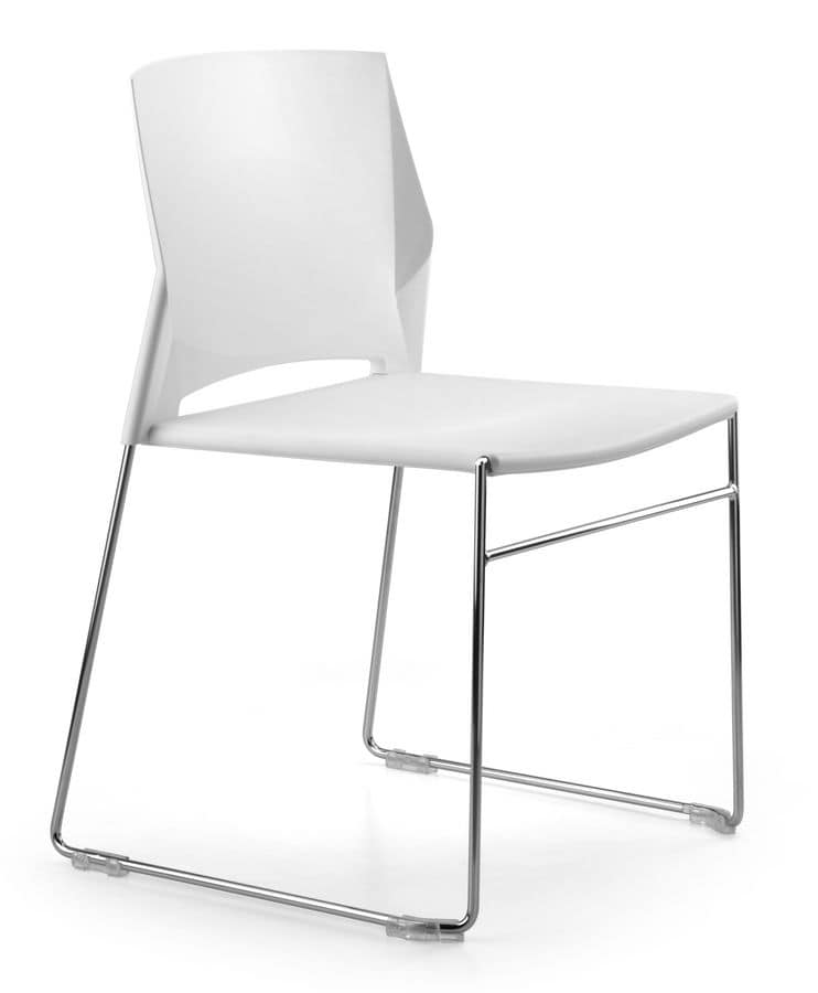 TREK 030, Stackable chair, metal sled base, shell polymer