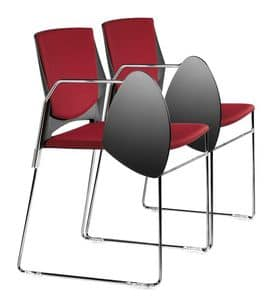 TREK 032 STDX, Upholstered chair with metal base and copolymer