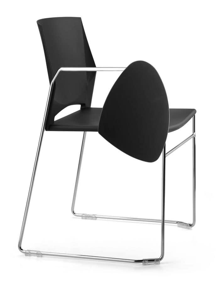 TREK 032 TDX, Metal chair, shell polymer, writing tablet