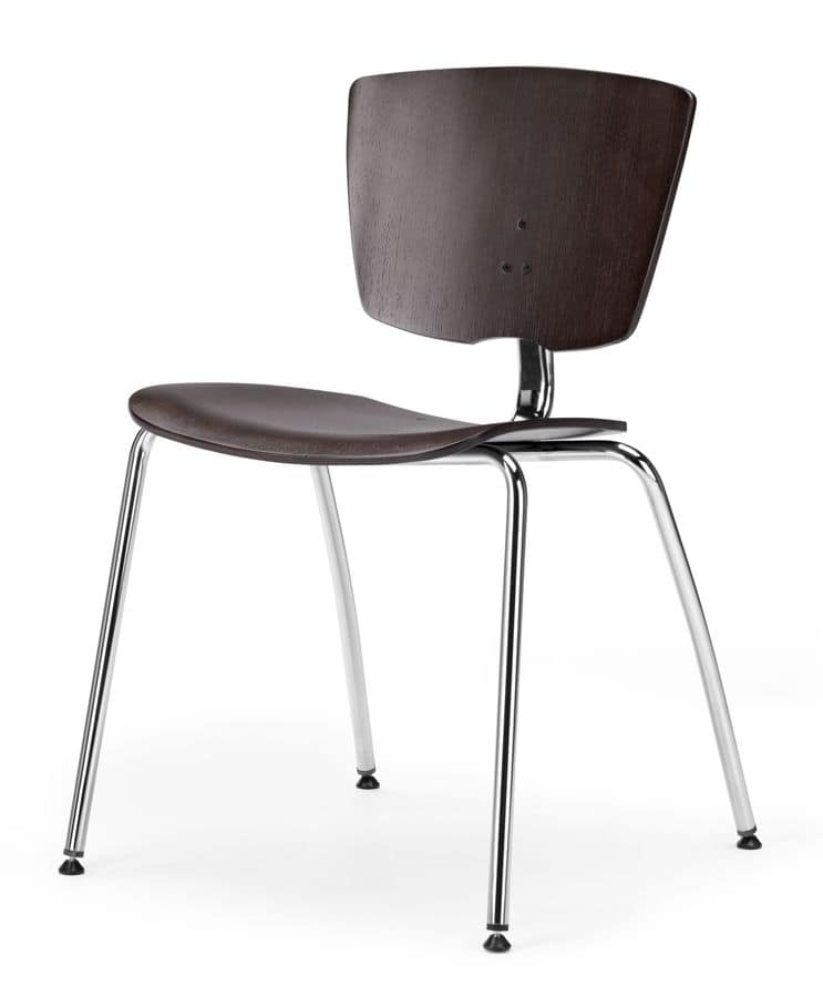 VEKTA 100, Stackable chair in metal and beech plywood