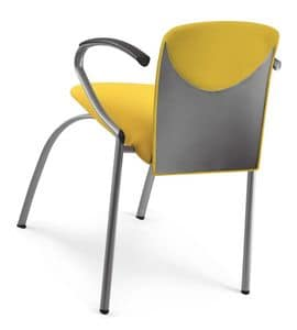 VULCAN 1288 Z, Padded stackable chair with armrests, in various colors