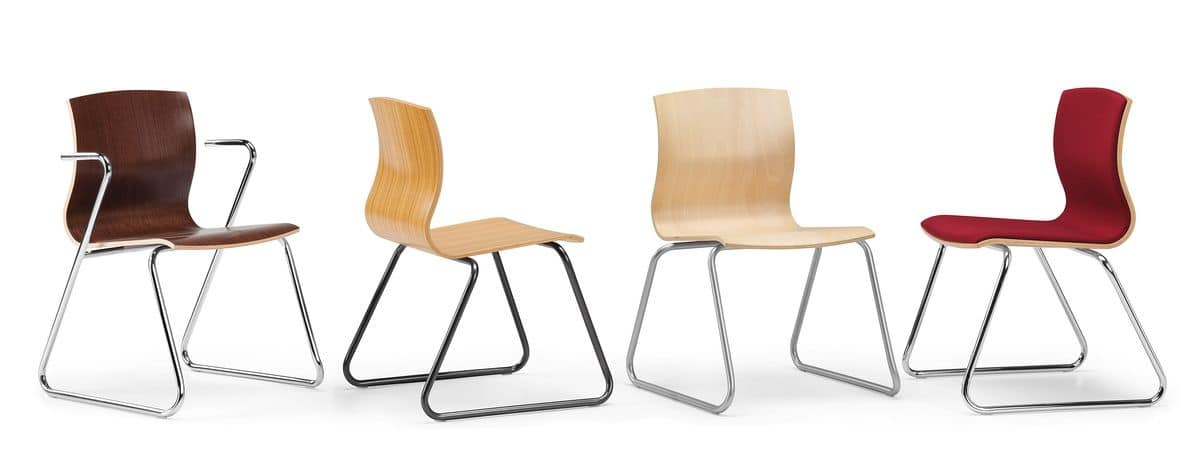 WEBWOOD 350, Chair with sled base, plywood shell