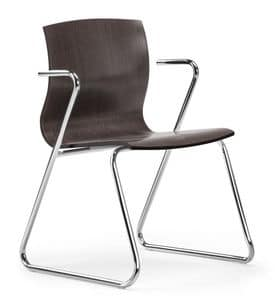 WEBWOOD 351, Stackable chair in laminated beech, sled base