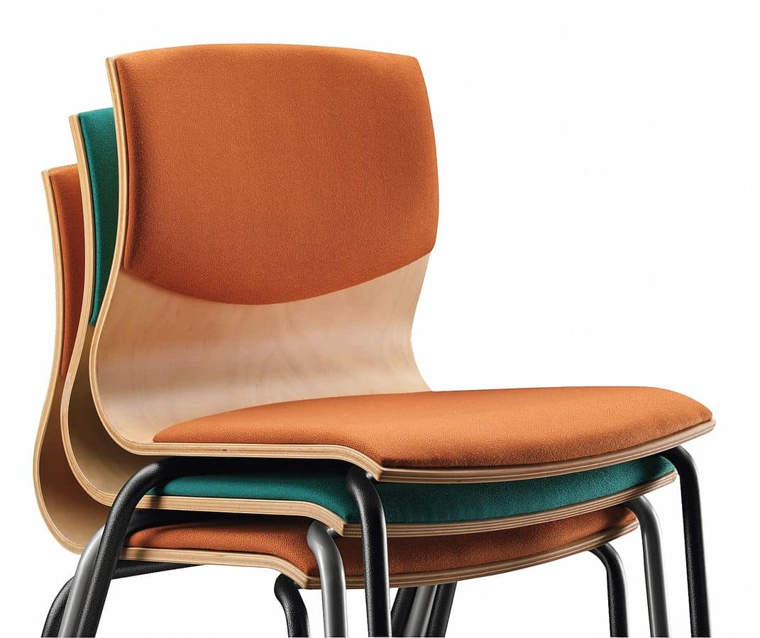 WEBWOOD 353 S, Chair with metal frame, upholstered wooden shell