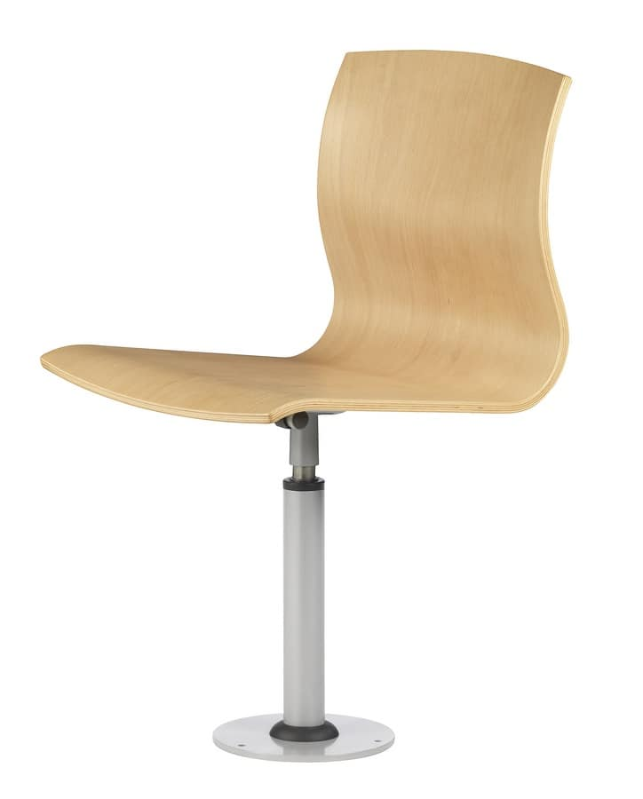 WEBWOOD 360 F, Chair in metal and plywood, fixed to the floor