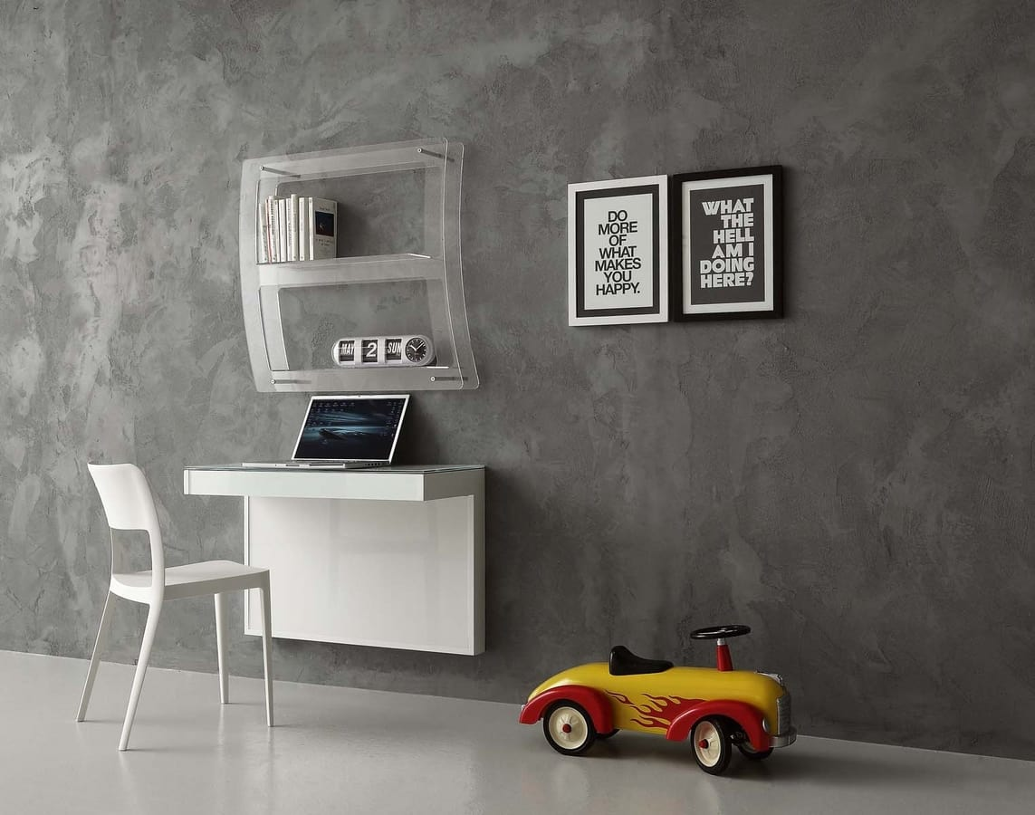 a105 kappa, Desk with glass top, wall mount