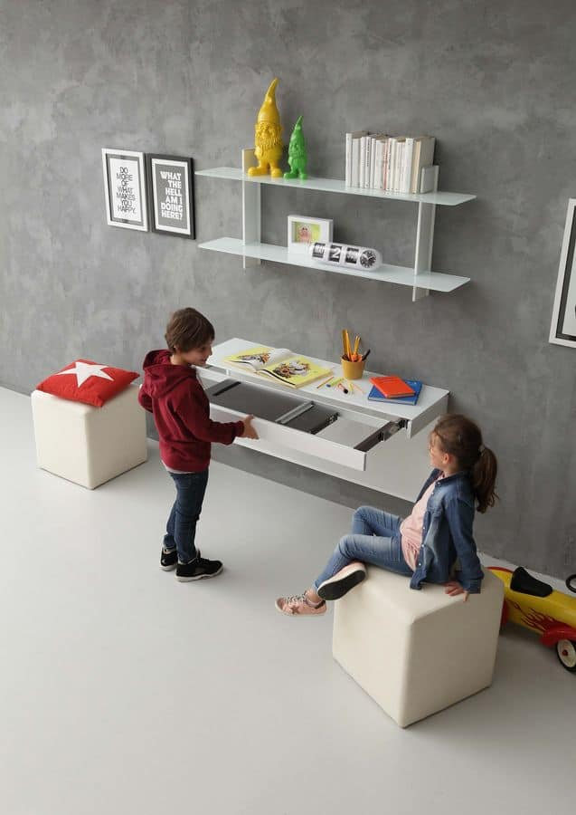 a106 daisy desk, Modern desk for children's bedrooms, with extension mechanism