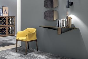 ALBATROS  CONSOLE, Metal console with central element  in wood finish