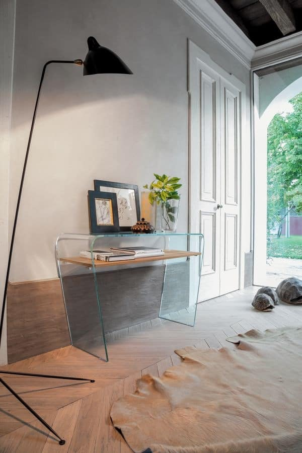 ALTAMURA, Curved glass console, with wooden shelve, for the entrance