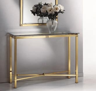 AMADEUS 3090 CONSOLLE, Console in brass, glass top, for corridor