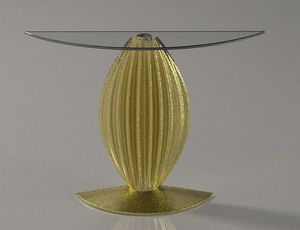 Arianna, Console with half-moon glass top