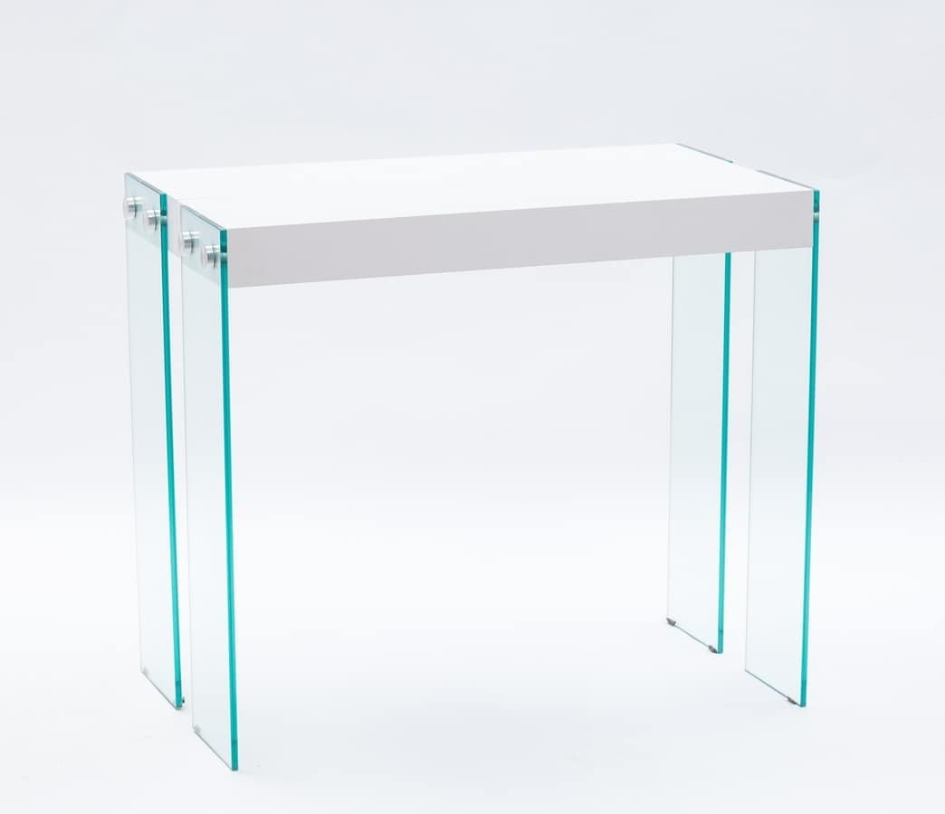 Art. 732 Iceberg, Console with glass legs, extendable