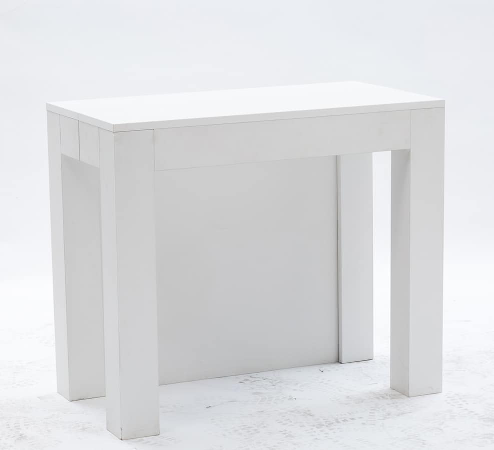 Art. 733 Cargo, Elegant extendable console, with white finish