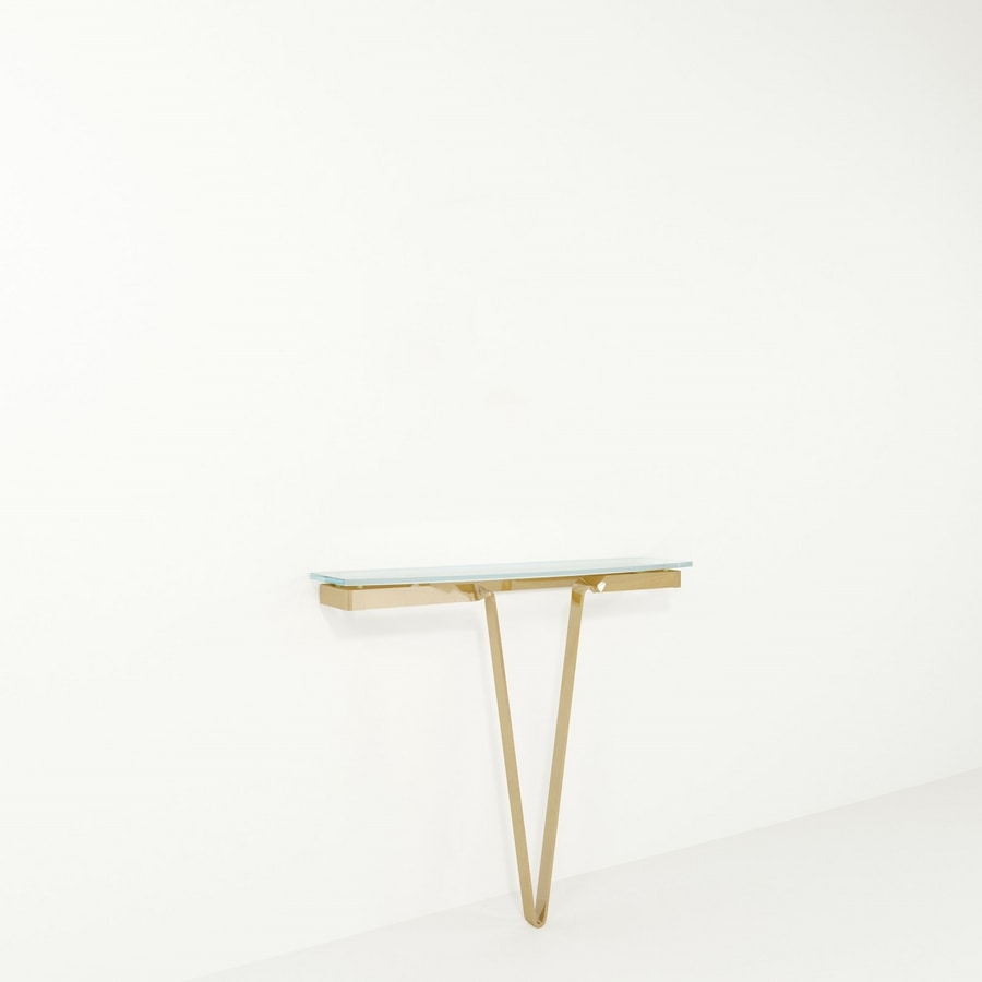 Avi, Iron console with glass top