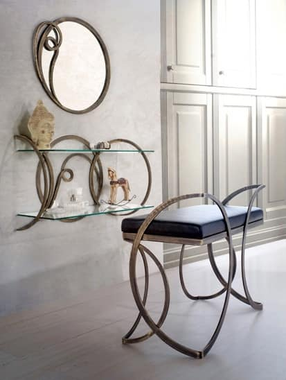 Azzurra Consolle, Classic console with satin glass shelves