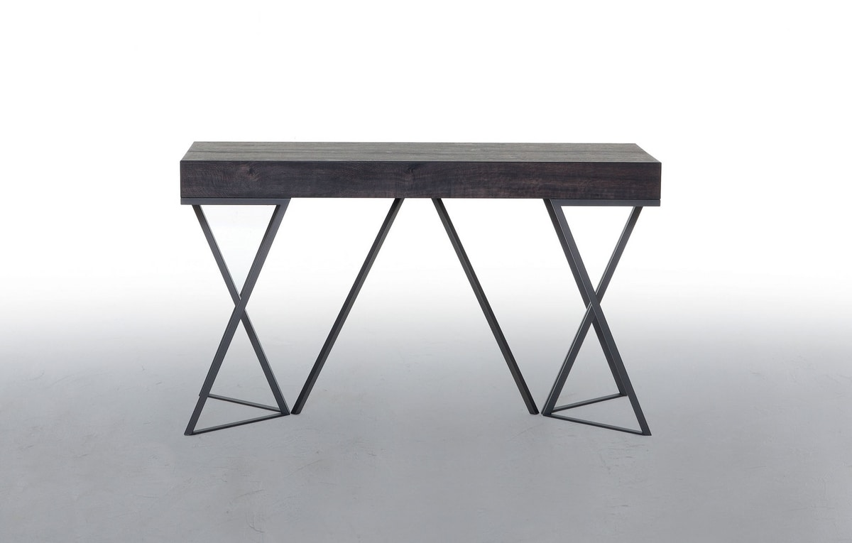 BEVERLY, Extendable console, with wooden top