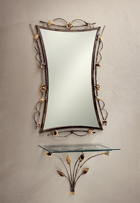CO/400, Wall decorated console in wrought iron, glass top