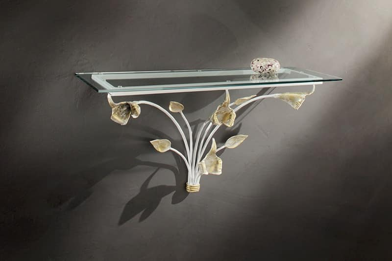 CO/410, Wall console in wrought iron and glass top