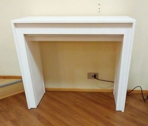Console 01, Extendable console, in white wood