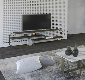 Consolle TV Yin, TV console in iron and wood