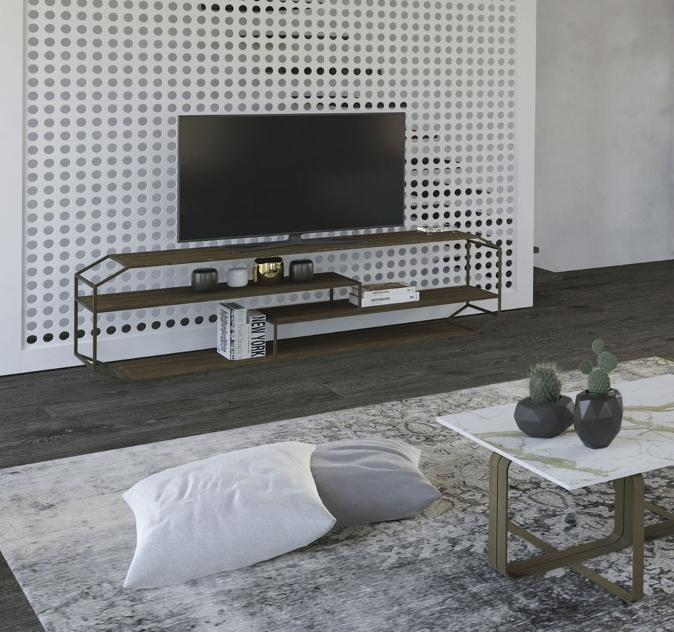 Yin console TV, TV console in iron and wood