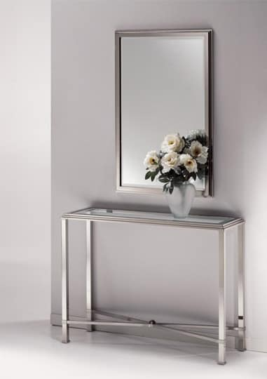 DOMUS 2190 CONSOLE, Console in brass polished nickel, glass top