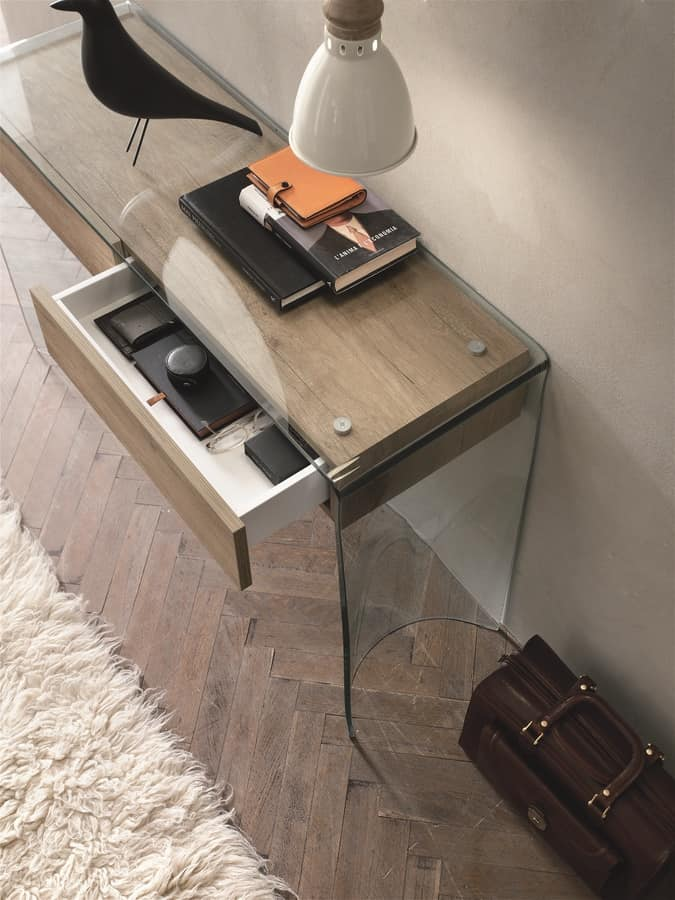 ESCAPE CO504, Modern console with glass structure, for lobby