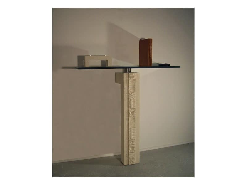 Etnica console, Furniture for entrance with pillar stone
