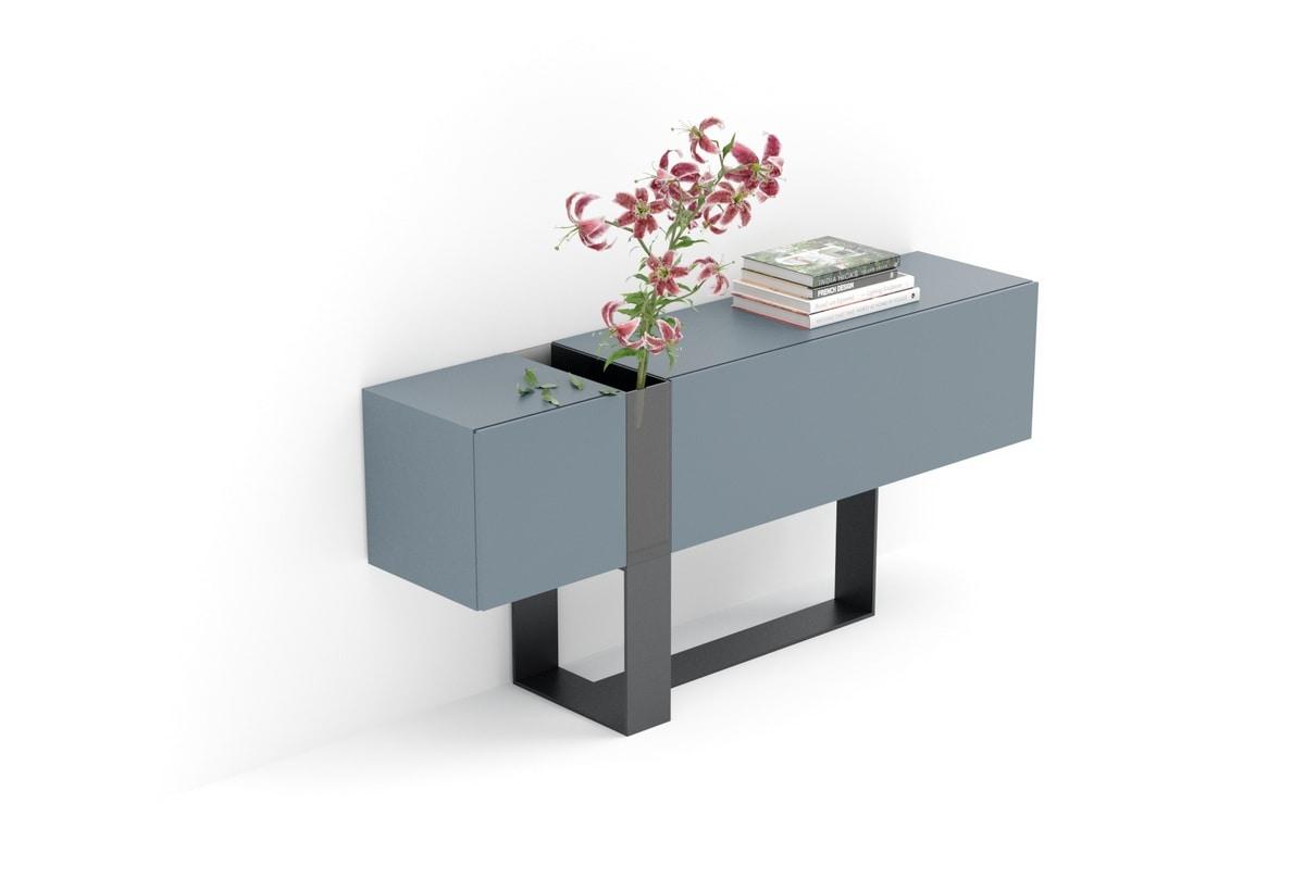 FLÒ comp.01, Console for entrances with crystal vase, for villas