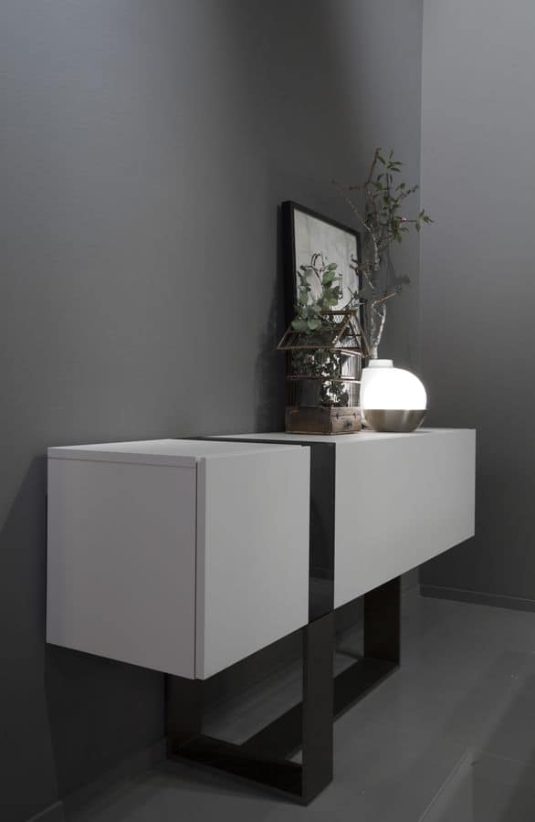 FLÒ, Console for entrances with crystal vase, for villas