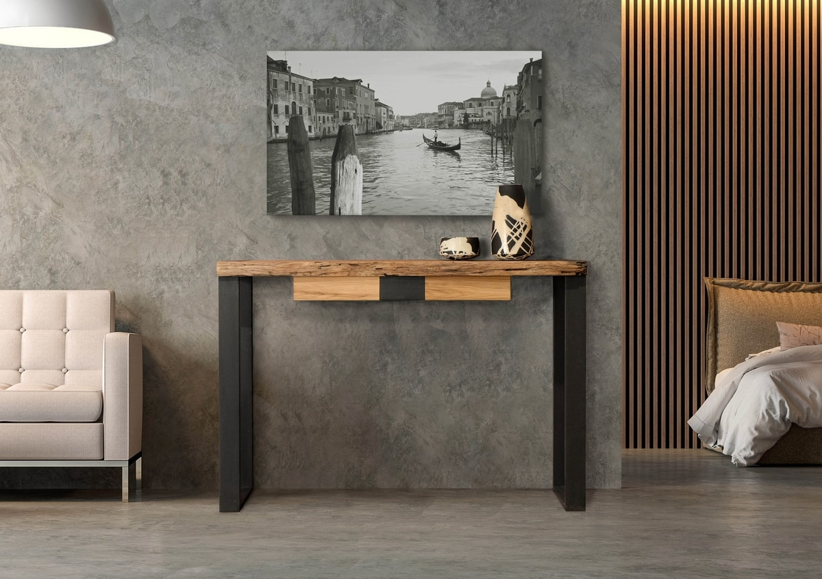 Laguna console Art. 511, Console with drawer, Venetian mooring posts top