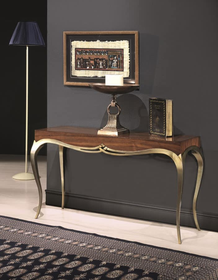 LOVE console 8676K, Console in solid wood, classic style, legs with golden finish