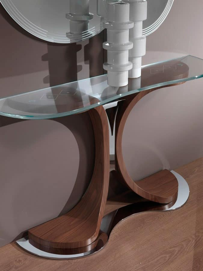MB45 Mistral console, Console with metal and wood base, glass top
