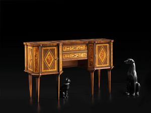 Migneco RA.0838, 18th-century-style Emilia inlaid console table with two doors and two drawers