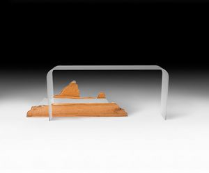 Mountain Altar, Console in curved glass and wood