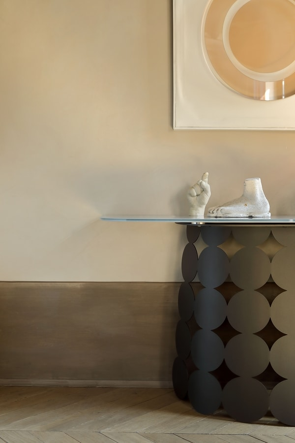 POIS CONSOLE, Steel console with glass or ceramic top