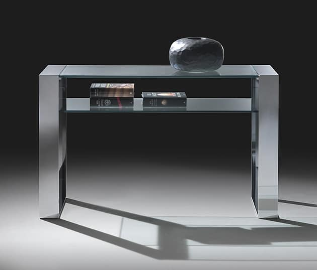 Consolle O Console.Console In Steel And Glass With A Shelf Idfdesign