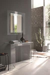 SAGITTA COC05, Curved glass console and mirror suited for modern environments