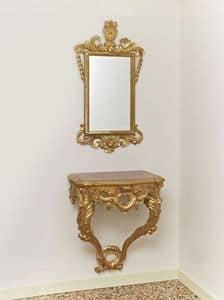 SET CONSOLLE + MIRROR  ART.CL0001 + CR 0023, Classic set with console and mirror, carved with plant motifs