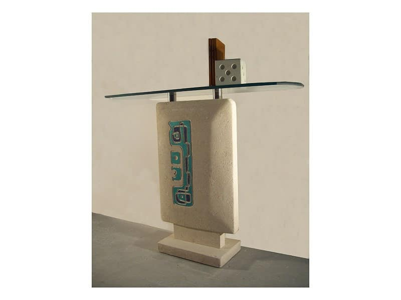 Settanta console, Consolle for entrances, stone base and top in glass