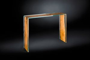 Venezia console, Console in glass and wood